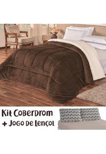 Kit Coberdrom C/ Jogo De Lençol Kronos Dupla Face Tabaco/Bege Queen 04 Peças - Tecido Sherpa E Manta Microfibra C/ Lençol Em Malha - Tricae