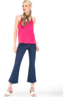 Calça Jeans Flare Cropped Emana