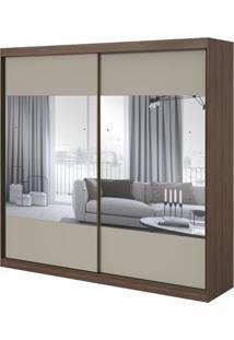 Guarda-Roupa Royal Com Espelho - 2 Portas - Imbuia Naturale Com Offwhite