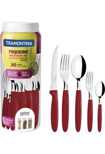 Faqueiro Tramontina 23398788 Ipanema Aço Inox 30 Peças Vermelho