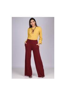 Calça Reta Pantalona Malha Com Bolso Bordô