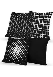 Kit 4 Capas De Almofadas Decorativas Own Geométricas E Lisa Black 45X45 - Somente Capa