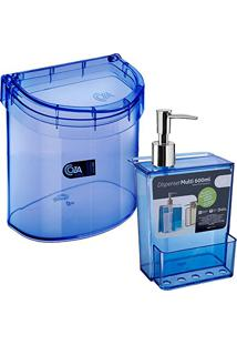 Lixeira Pia E Porta Detergente Esponja Dispenser Coza Azul
