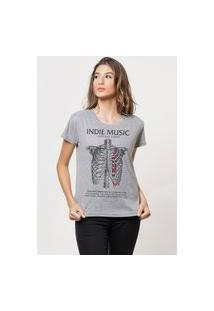 Camiseta Jay Jay Básica Indie Music Cinza Mescla