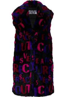 Versace Jeans Couture Colete Texturizado Com Logo - Preto