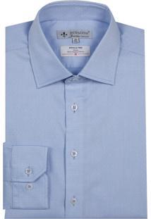 Camisa Dudalina Manga Longa Wrinkle Free Fio Tinto Listrado Masculina (Azul Claro, 44)