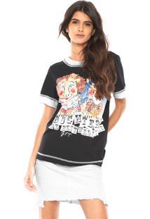 Camiseta My Favorite Thing(S) Reta Bicolor Preta