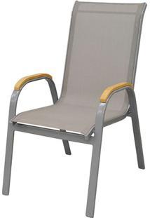 Cadeira Juquei Com Bracos Tela Cinza Base Cinza - 38727 - Sun House