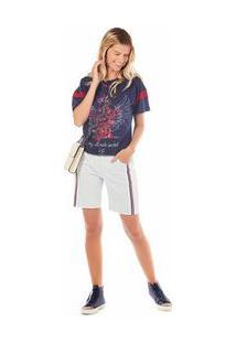 Bermuda Zinco Slim Com Recortes Jeans - 36