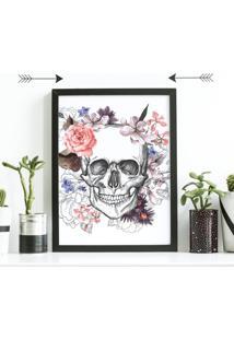 Quadro Decorativo Com Moldura Caveira Floral Preto - 30X40Cm - Multicolorido - Dafiti