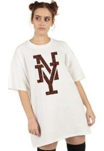 Camiseta Skull Clothing Ny Floral Feminina - Feminino-Branco