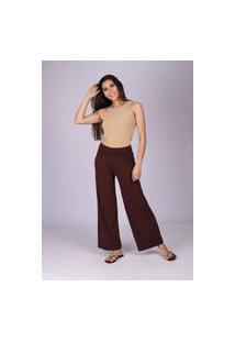 Calça Pantalona Reta Malha Cós Alto Marrom