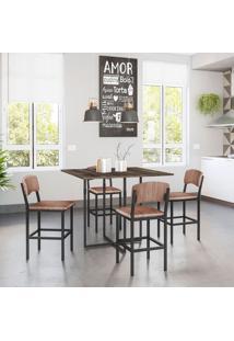Conjunto De Mesa De Cozinha Teka Com 4 Bancos | Banquetas Nice Ameixa Negra E Preto