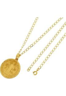Pingente São Bento Com Corrente Tudo Joias Grumet Folheado A Ouro 18K - Unissex-Dourado