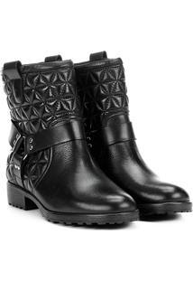 Bota Biker Shoestock Matelassê Feminina - Feminino-Preto
