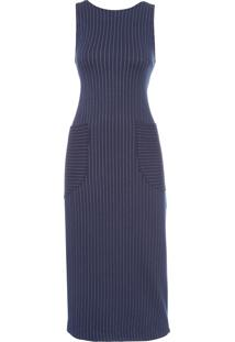 Vestido Listrado - Azul