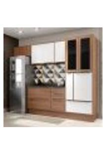 Cozinha Compacta Calábria Paneleiro, Aéreos E Balcão 3 Gavetas Nogueira/Branco