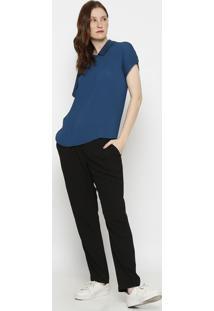 Blusa Lisa Texturizada- Azul Escuro- Lacostelacoste