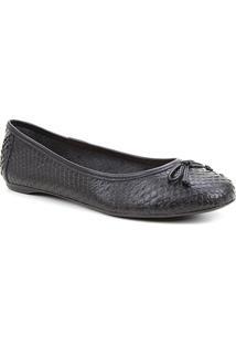 Sapatilha Couro Shoestock Cobra Laço Feminina - Feminino-Preto