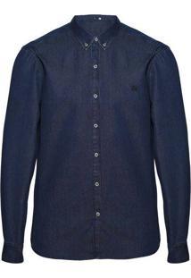 Camisa Jeans Slim Masculina Lavação Tradicional E Gola Com Buttondown