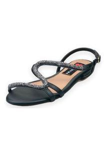 Sandália Rasteira Love Shoes Fivela S Strass Delicado Preto