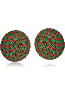 Brinco Le Diamond Botão De Seda Multicolors