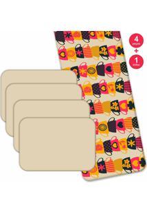 Jogo Americano Love Decor Com Caminho De Mesa Wevans Xícaras Coloridas Kit Com 4 Pçs + 1 Trilho Multicolorido