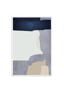 Quadro 75X50Cm Abstrato Geométrico Oriental Malko Moldura Branca Com Vidro
