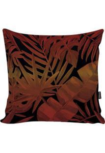 Capa Para Almofada Blackred Foliage- Laranja Escuro & Prstm Home
