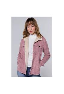 Jaqueta Vintage Em Cotelê Com Gola De Pelinhos Sob Com Bolsos Rosa
