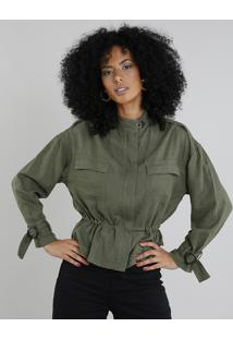 Jaqueta Feminina Em Linho Com Bolsos Verde Militar