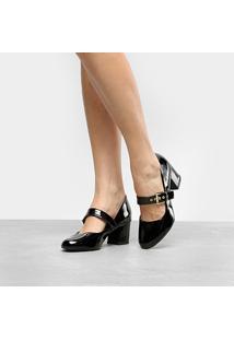 Scarpin Griffe Salto Baixo Boneca - Feminino-Preto