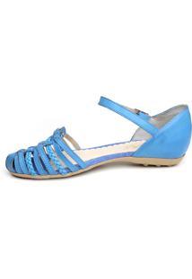 Sandália Opposite Em Couro Azul