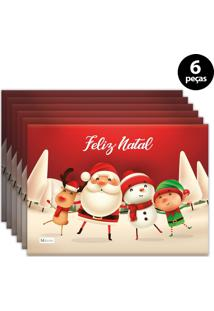 Jogo Americano Mdecore Natal Feliz Natal 40X28 Cm Vermelho 6Pçs