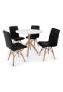 Conjunto Mesa De Jantar Maitê 80Cm Branca Com 4 Cadeiras Eiffel Gomos - Preta