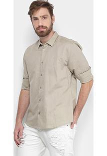Camisa Forum Regular Fit Linho Masculina - Masculino-Bege