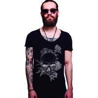 7d3857969c Camiseta Estonada Corte À Fio Joss Caveira Florida - Preto