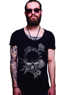 Camiseta Estonada Corte À Fio Joss Caveira Florida - Preto
