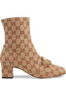 Gucci Ankle Boot Gg Com Duplo G - Neutro