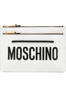 Moschino Clutch Com Logo E Zíper - Branco