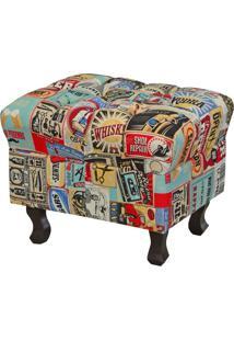 Puff Decorativo Lymdecor Paris Vintage Multicolorido