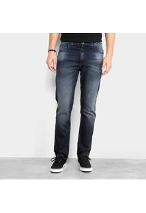 Calça Jeans Slim Ellus Dark Lake Elastic Masculina - Masculino-Azul Escuro