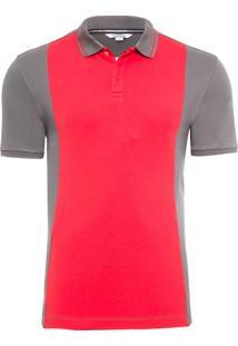 Polo Masculina Slim Com Logo Na Vista - Cinza E Vermelho
