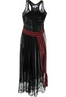 Koché Vestido Midi Com Pregas - Preto