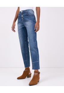 Calça Jeans Reta Com Cintura Alta E Recorte Na Barra
