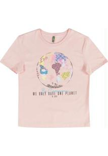 Blusa Estilo T-Shirt Com Estampa Rosa