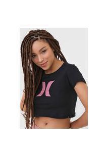 Camiseta Cropped Hurley Icon Preta