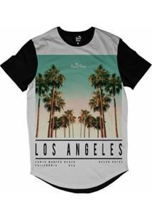 Camiseta Longline Long Beach La Beach Sublimada Masculina - Masculino-Branco
