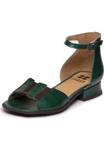 Sandalia Com Salto Baixo Em Couro - Esmeralda / Sued Flex Cafe 7737 - Tricae