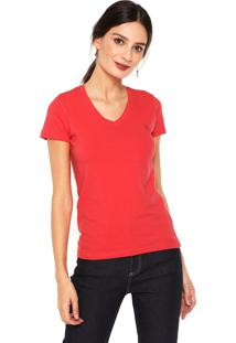 Camiseta Polo Wear Gola V Coral